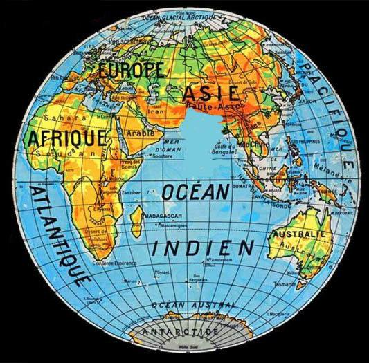 Mappemonde sans l'Inde